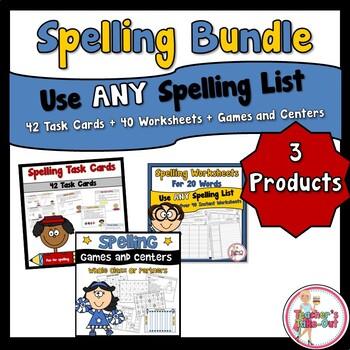 Spelling Task Cards and Spelling Worksheets Bundled