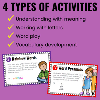 Word Work/Spelling Task Cards for Big Kids for ANY Word List