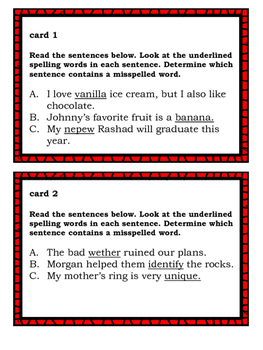 Spelling Task Cards for Middle School Students Set 1