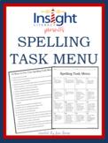 Spelling Task Menu with 16 Spelling Activities