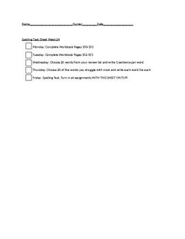 Spelling Task Sheet
