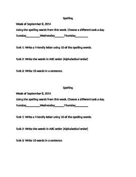 Spelling Task for Homework