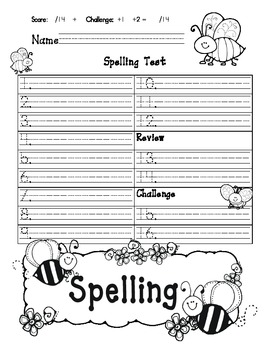 Spelling Template for Journeys