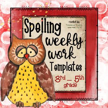 Spelling Word Templates (20 words): Weekly Practice