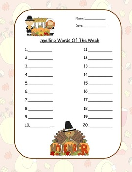 Spelling Templates and Graphic Organizer-Spelling Throughout The Year!