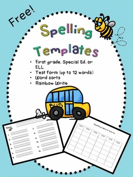 Spelling Templates/Special Ed/ELL/First Grade- FREE