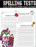 Spelling Tests and Practice Worksheet - #1-10 and space for sentences