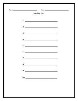 Spelling Test - 10 Words