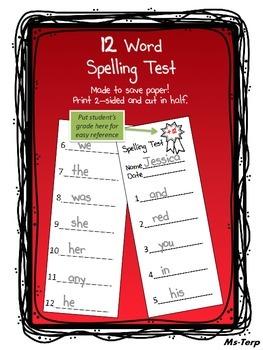 Spelling Test 12 Word