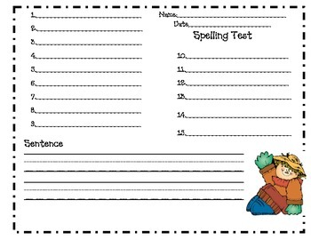 Fall Themed Spelling Tests