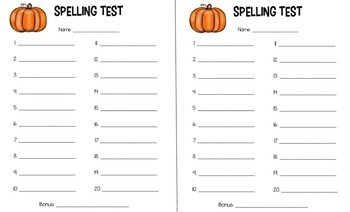 Spelling Test and Dictation Paper 5, 10 and 20 Words