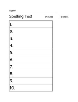 Spelling Test Answer Key (10 Words)
