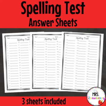 Spelling Test Answer Sheets