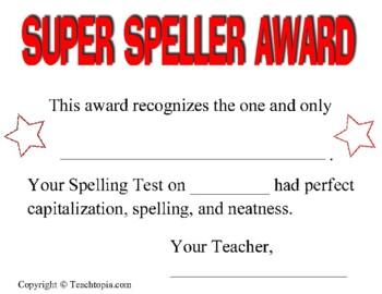 Spelling Test Award Certificate