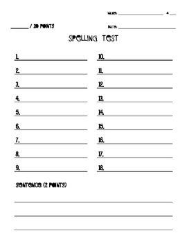 Spelling Test Blank