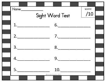 Spelling Test- Blank Copy