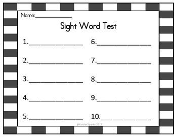Sight Word Test- Blank Copy