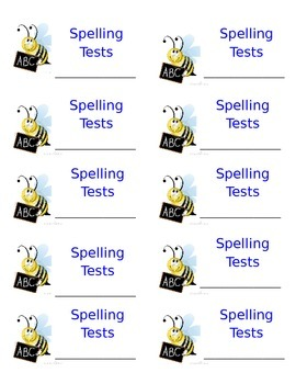 Spelling Test Booklet Labels