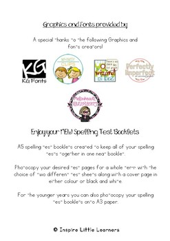 #ausbts18 Spelling Test Booklets
