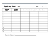 Spelling Test Check and Return Paper
