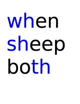 Spelling Test Consonant Digraphs