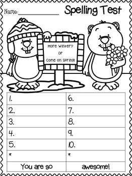 Spelling Test FREEBIE~ February Edition!!!!!