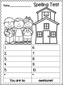 Spelling Test FREEBIES!  Back to School Edition