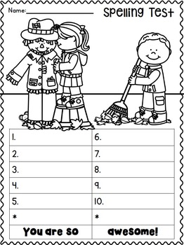 Spelling Test FREEBIES:  September and October Edition :o)