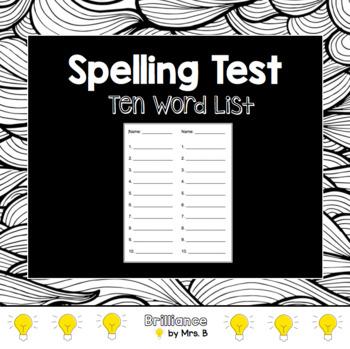 Spelling Test Form (10 words)