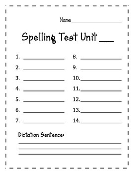 Spelling Test Form