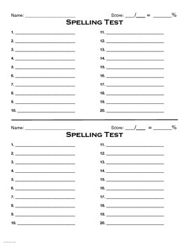 Spelling Test Form (2 per page)