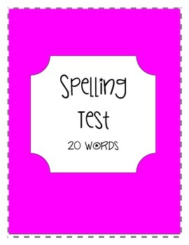 Spelling Test Form (20 words)