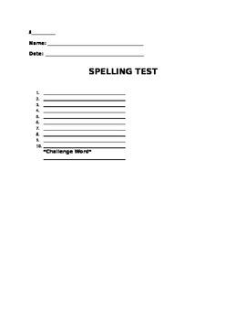 Spelling Test Format