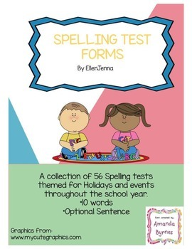 Weekly Spelling Test Forms