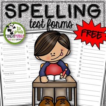 Spelling Test Forms Grades 1-3 FREEBIE