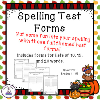 Spelling Test Templates or Forms for Fall