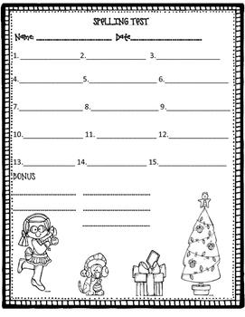 Spelling Test Freebie December