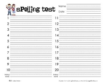 Spelling Test Pack - 20 Words Format