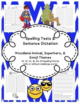 Spelling Test Pages - Superhero, Woodland, & Emoji Themes