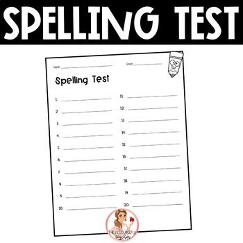 Spelling Test Paper (20 words)