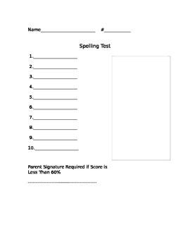Spelling Test Paper