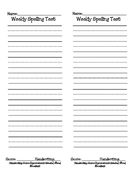 Spelling Test Paper