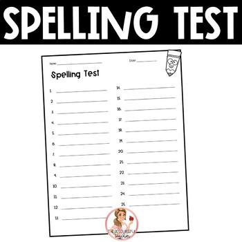 Spelling Test Paper (25 words)