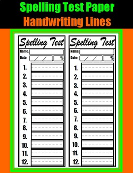 Spelling Test Paper ( 3 Versions)