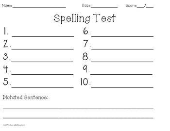 spelling test paper blank by that literacy blog tpt. Black Bedroom Furniture Sets. Home Design Ideas