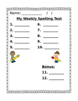 Spelling Test Paper - Editable
