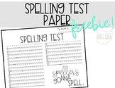 Spelling Test Paper FREEBIE!