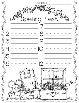 Spelling Test Paper // Flowers & Friends