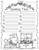 Spelling Test Paper // Flowers & Friends
