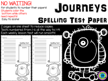Spelling Test Paper ~ Journeys ~ Monsters!